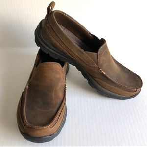 Sketchers Leather Slip On Loafers Brown 12